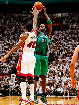 Kevin Garnett has largely had his way with Miami bigs like Udonis Haslem. (Getty Images)