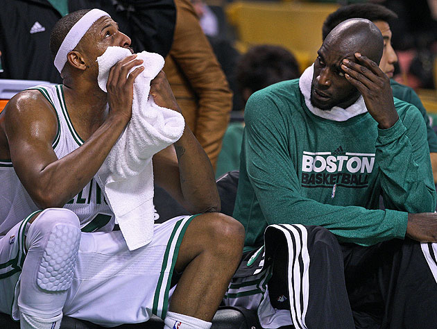 Kevin Garnett is a little concerned. (Boston Globe via Getty Images)