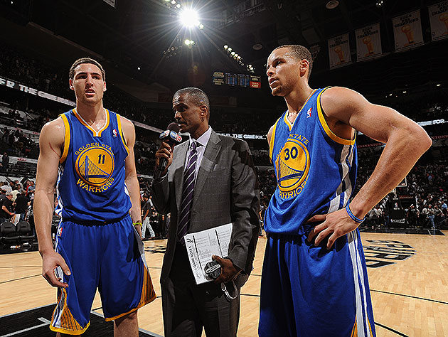 Klay and Steph have to shoot well enough to merit a postgame chat tonight. (Andrew D. Bernstein/NBA/Getty)