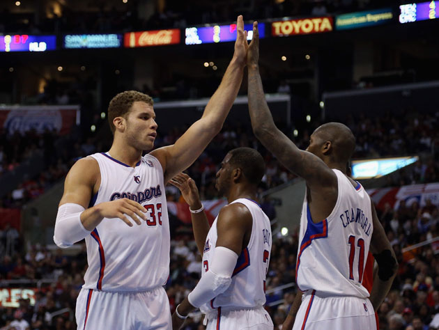 Blake Griffin, Chris Paul, and Jamal Crawford in a more serene moment (Getty Images)