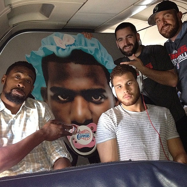 The Clippers celebrate with a giant Chris Paul head, dressed li…