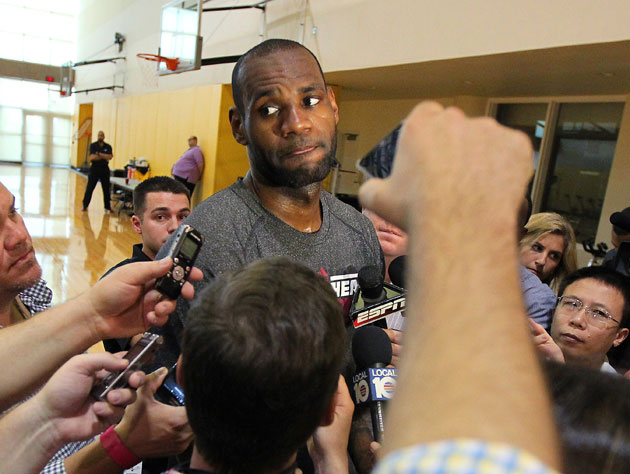 LeBron James answers the annoying questions on Tuesday (Getty Images)