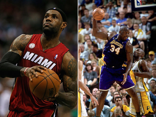 LeBron James and Shaquille O'Neal during their MVP seasons (Getty Images)