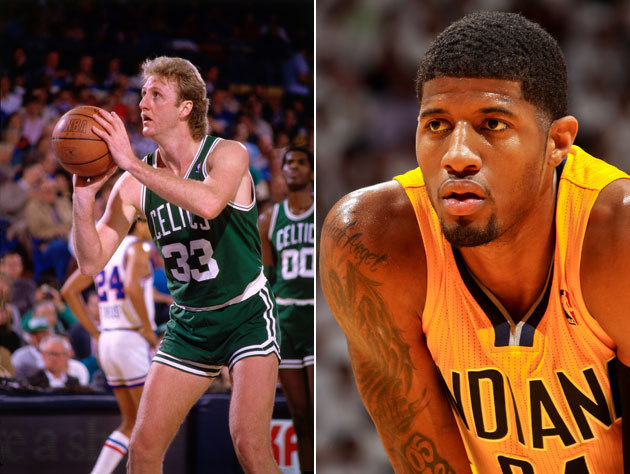 Paul George scopes out the form of the guy who drafted him (Getty Images)