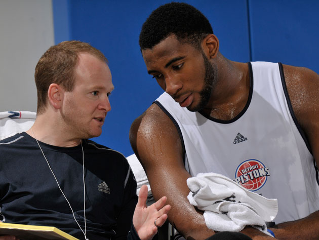 Lawrence Frank explains it all to Andre Drummond (Getty Images)