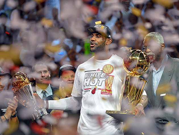 LeBron James celebrates his second straight title and Finals MVP. (Steve Mitchell-USA TODAY Sports)