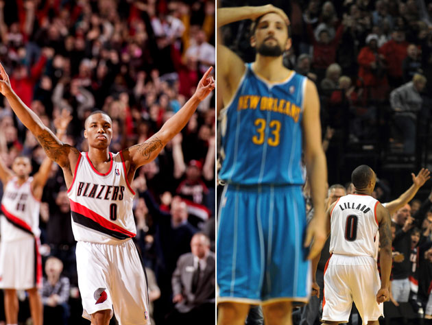 The faces of Damian Lillard and Ryan Anderson say it all. (Left: Cameron Browne/NBA; Right: Steve Dykes-USA TODAY Sports)