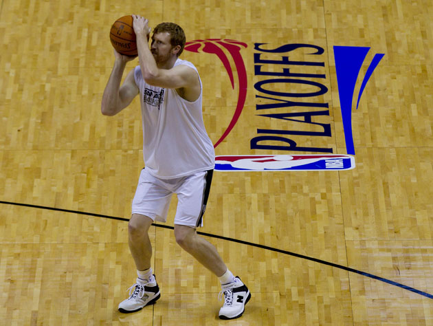 Matt Bonner gets a few extra shots up before Tuesday's Game 1 (Getty Images)