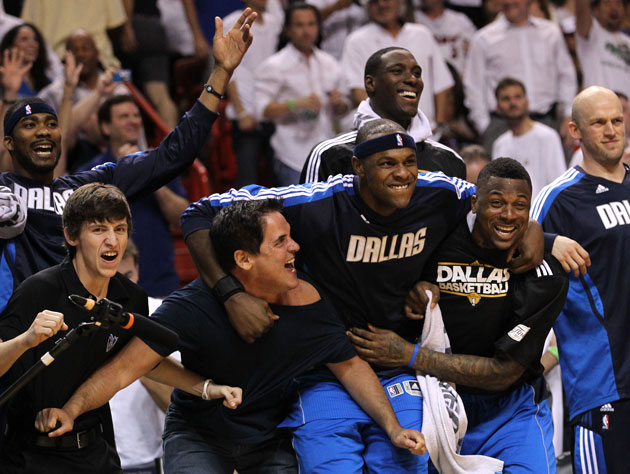 The first face Mark Cuban saw after his team won the championship was Brendan Haywood's (Getty Images)