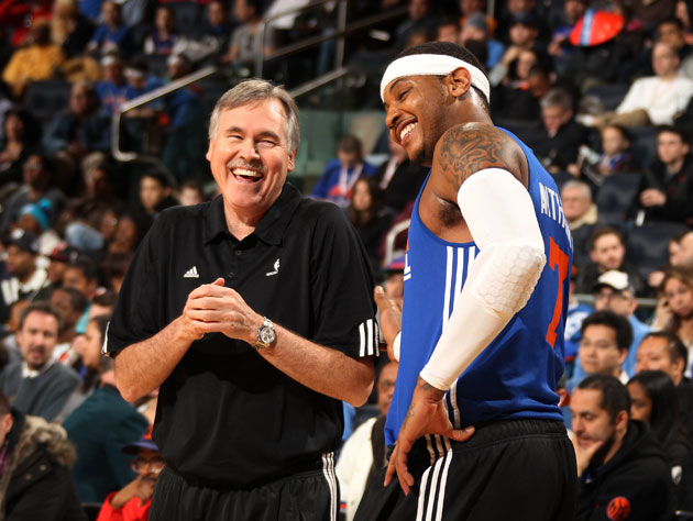 Mike D'Antoni and Carmelo Anthony in giddier times (Getty Images)