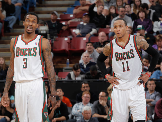 Brandon Jennings and Monta Ellis grimace in the face of an uncertain future (Getty Images)