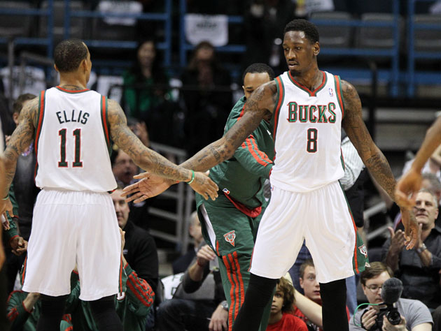 Monta Ellis and Larry Sanders prior to their locker room confrontation (Getty Images)