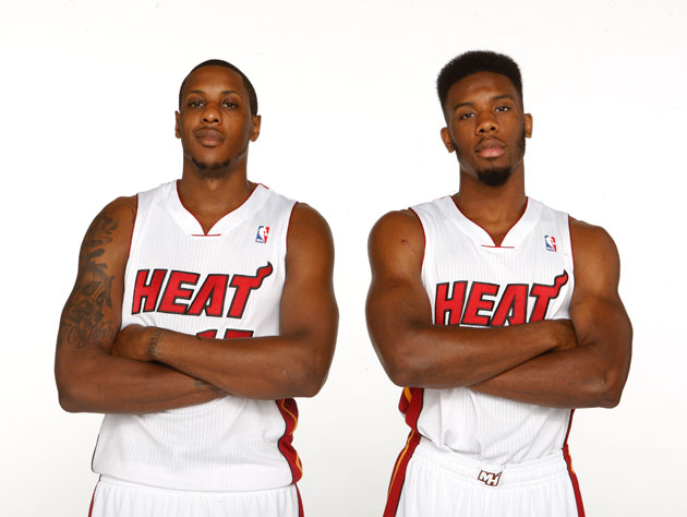 Mario Chalmers and Norris Cole pose for their first album cover (Isaac Baldizon/ Getty)