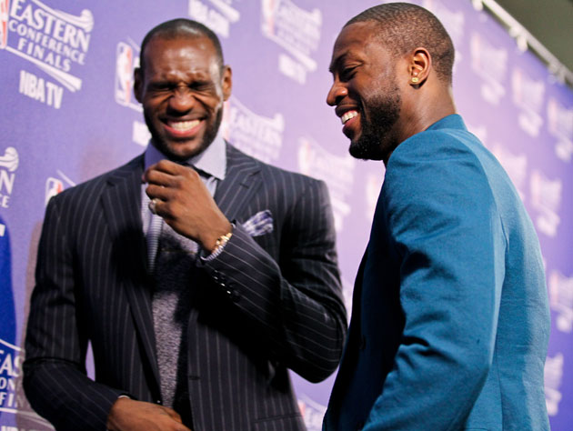 LeBron James and Dwyane Wade, not exactly shook after Game 1 (Getty Images)
