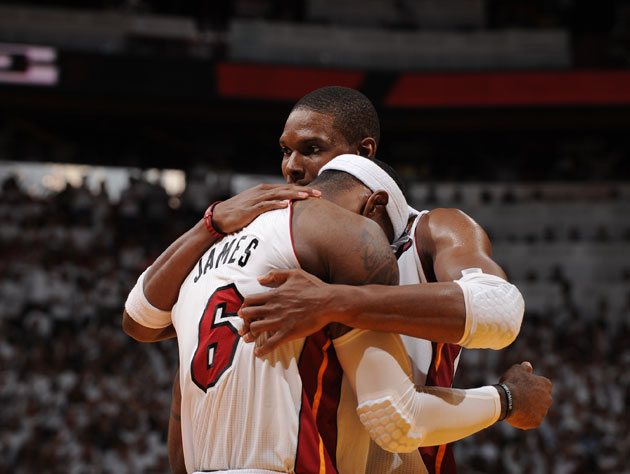 LeBron James and Chris Bosh celebrate their first NBA championship (Getty Images)