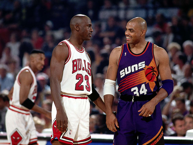 Michael Jordan and Charles Barkley joke about Boris Diaw's weight, 20 years in advance (Getty Images)