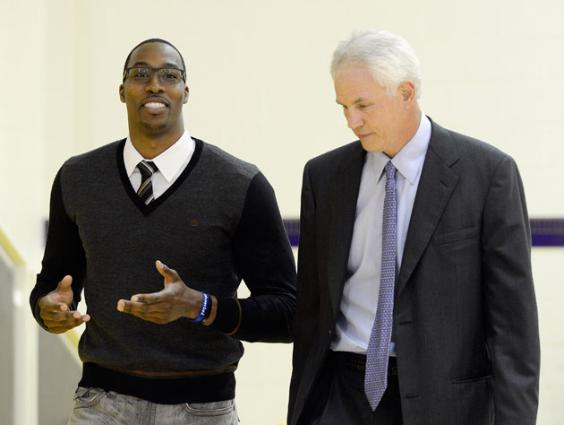 Dwight Howard tries to convince Mitch Kupchak that those are really prescription frames (Getty Images)