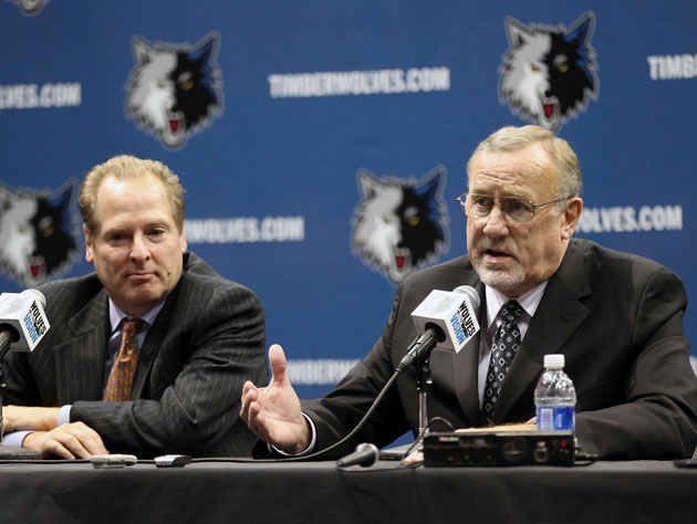 Current Wolves GM David Kahn and coach Rick Adelman (Getty Images)