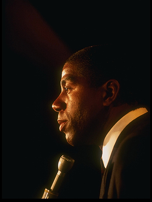 Magic Johnson announces that he is HIV-positive. (Getty Images)