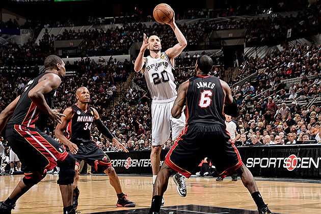 Manu Ginobili's second-half shotmaking was critical in Game 5. (D. Clarke Evans/NBAE/Getty Images)