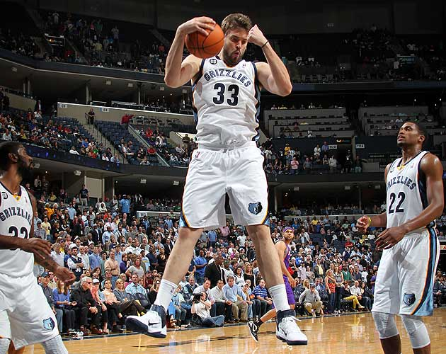 Marc Gasol of the Memphis Grizzlies grabs a rebound. (Getty Images)