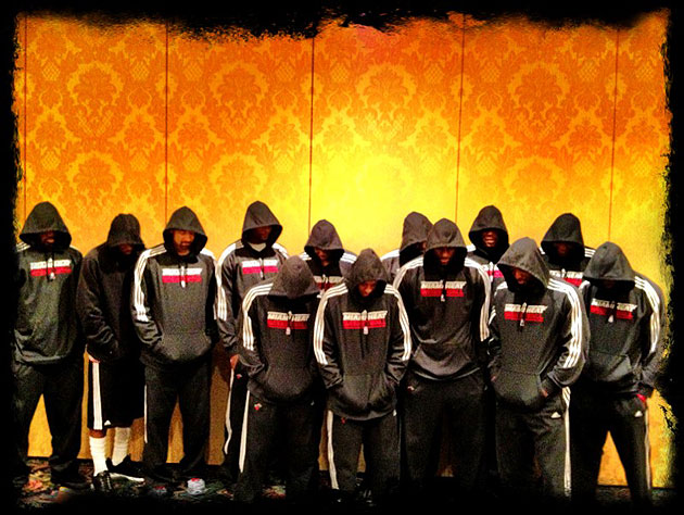 Members of the Miami Heat wear hooded sweatshirts. (Photo via LeBron James' Twitter account)