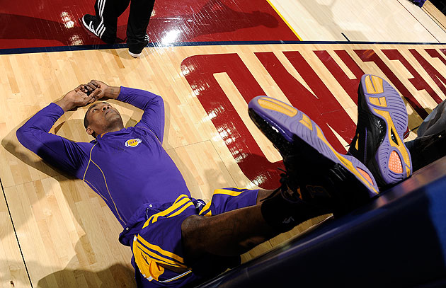 Metta World Peace has himself a think. (David Liam Kyle/NBA/Getty Images)