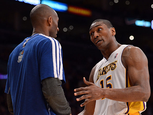 Metta World Peace speaks to Kobe Bryant only in iambic pentameter. (Harry How/Getty Images)