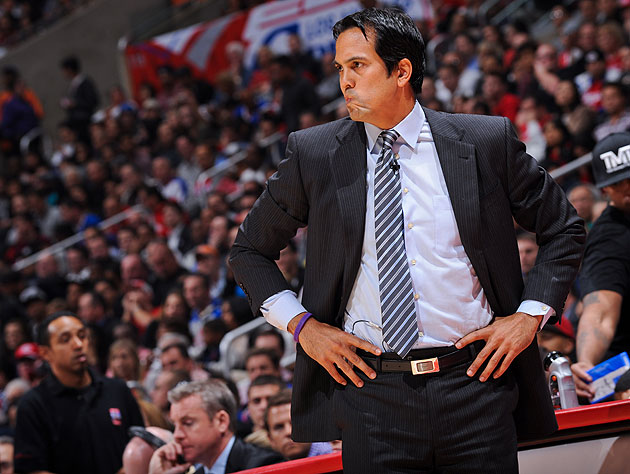 Miami Heat coach Erik Spoelstra's mad scrunchy. (Getty Images)
