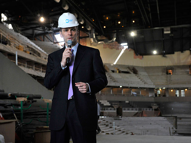 Mikhail Prokhorov has to wear a hard hat whenever he rhymes, because he tears stages down. (Getty Images)