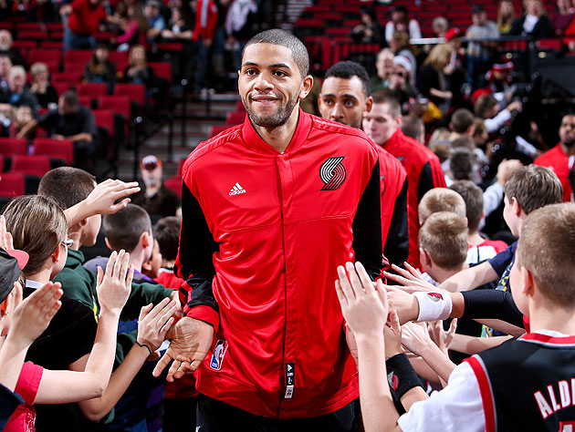 Nicolas Batum prepares for something pretty cool, on Sunday (Getty Images)