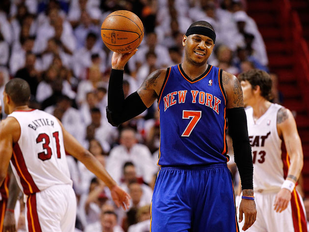 Carmelo Anthony, visibly annoyed (Getty Images)