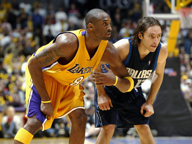 Kobe Bryant and Steve Nash. Andrew Bynum was 16 when this picture was taken. (Getty Images)