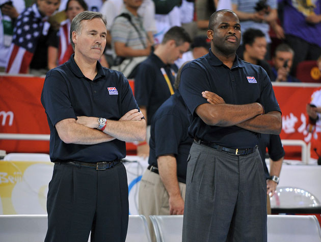 Mike D'Antoni and Nate McMillan are unaware they're about to coach Kobe, Pau, Steve Nash and Dwight Howard (Getty Images)
