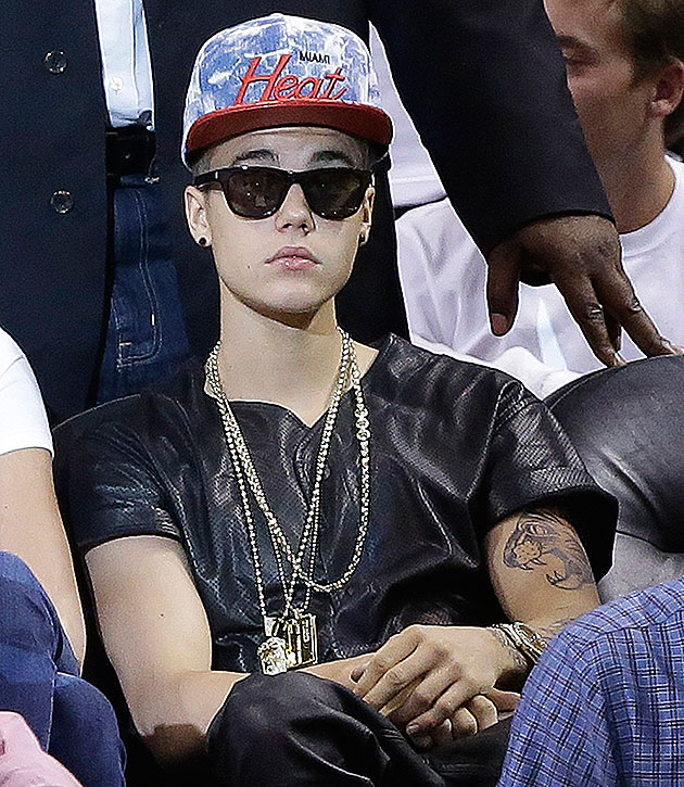 Noted basketball enthusiast Justin Bieber takes in Heat-Pacers Game 7. (AP/Lynne Sladky)