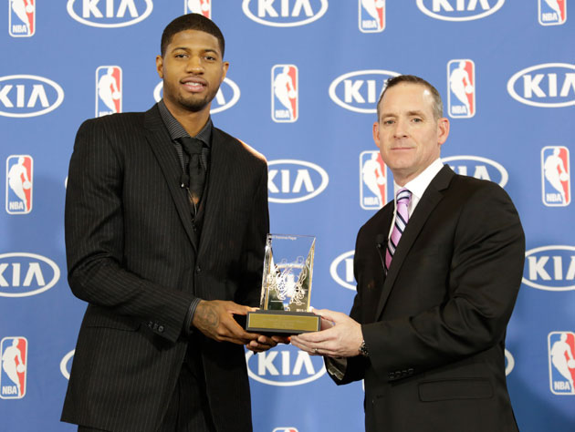 Paul George accepts his award on Tuesday (Getty Images)