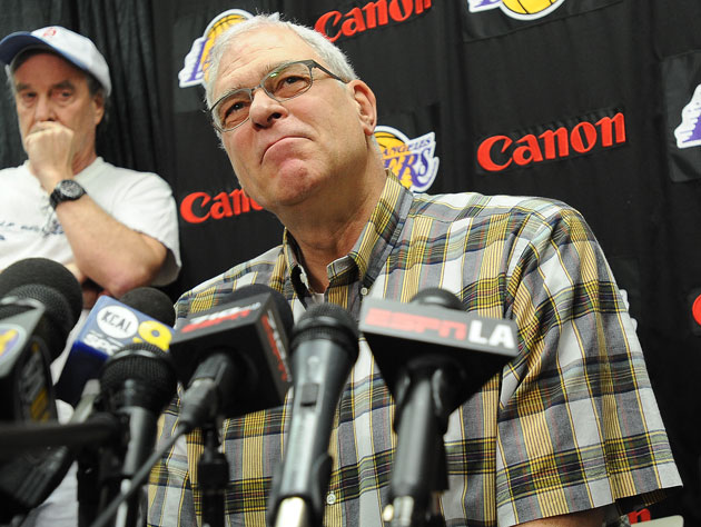 Phil Jackson thoughtfully considers a query (Getty Images)