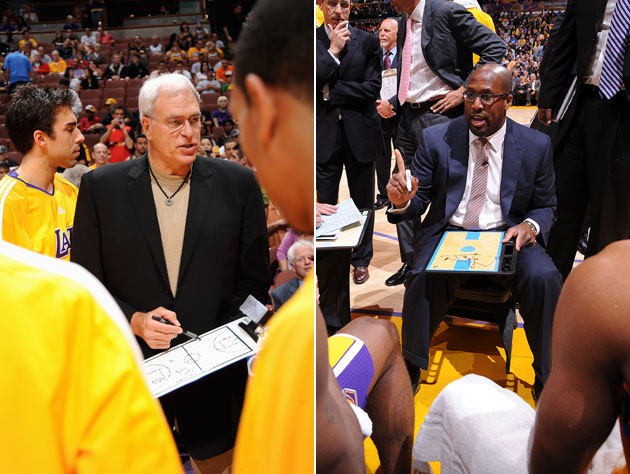 Phil Jackson and Mike Brown, doing what used to come naturally (Getty Images)