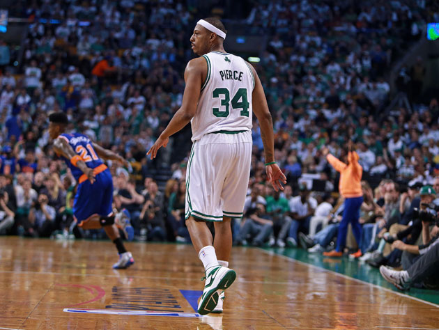 Paul Pierce, during what could be his final game as a Boston Celtic (Getty Images)