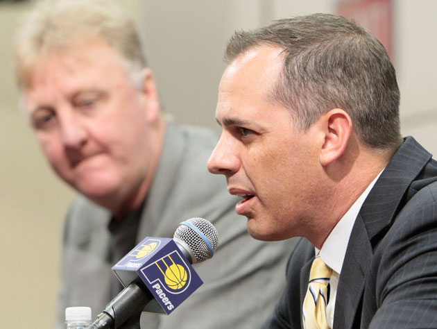 Indiana Pacers' braintrust Larry Bird, and Frank Vogel (Getty Images)