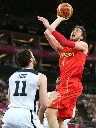 Pau Gasol routinely overpowered Kevin Love and the U.S. defense. (Getty Images)