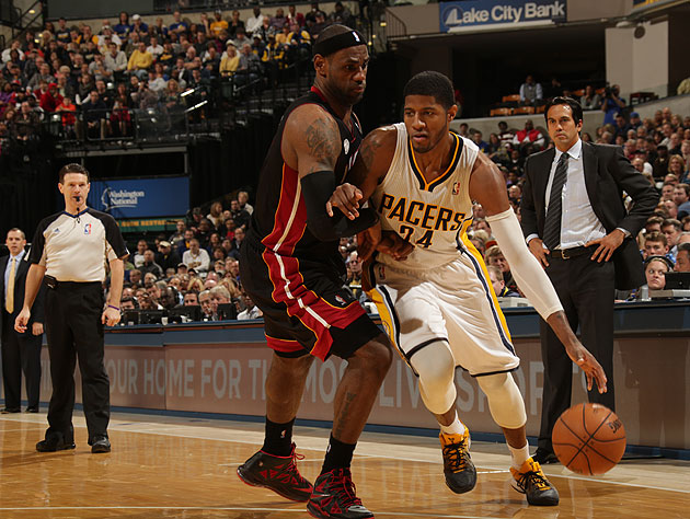 Paul George took it to LeBron James on Tuesday night. (Ron Hoskins/NBA/Getty Images)