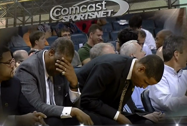 Paul Silas breaks out the epic facepalm. (Screencap courtesy of @Jose3030)