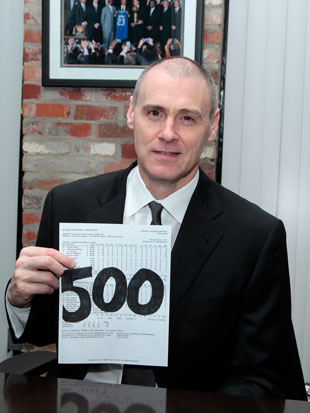 Rick Carlisle proudly holds up Chris Kaman's passed test (Getty Images)