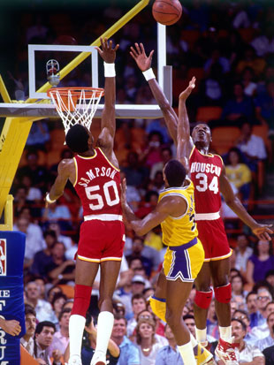 Ralph Sampson, Magic Johnson, Hakeem Olajuwon (Getty Images)