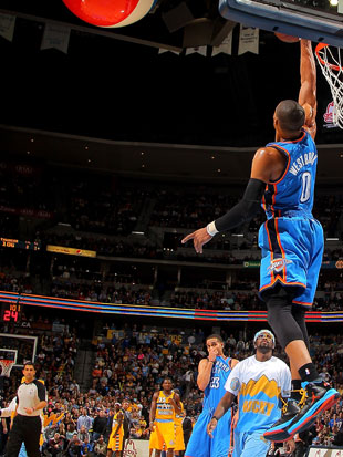 Russell Westbrook swats Rocky's second attempt (Getty Images)