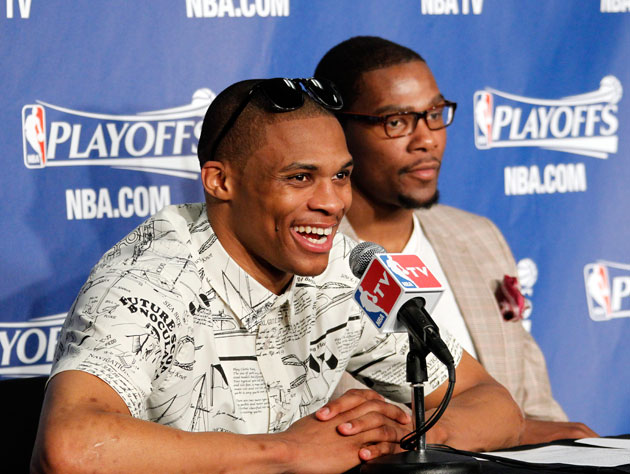 When you play like Russell Westbrook does, you're allowed to be the guy wearing sunglasses indoors. Kind of. (Getty Images)