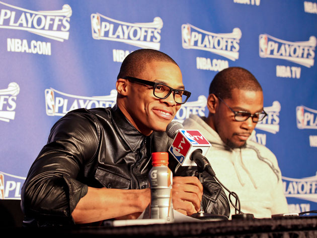 Russell Westbrook talks futures while Kevin Durant checks his @ replies (Getty Images)