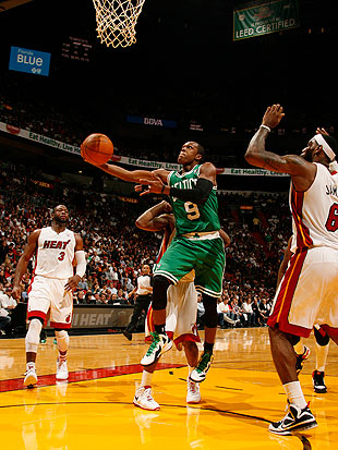 Rajon Rondo tends to play huge against the Miami Heat. (Getty Images)