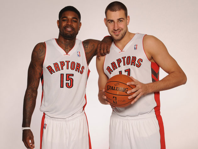 Toronto's twin towers pose during the Raptor media day (Getty Images)
